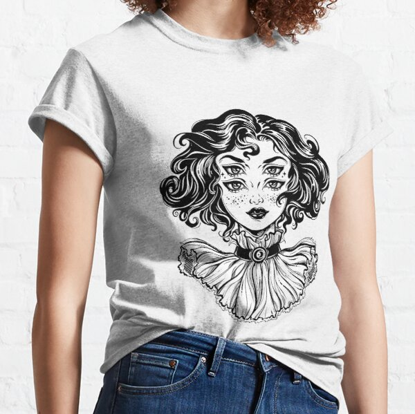 Gothic witch girl head portrait with curly hair and four eyes. Classic T-Shirt