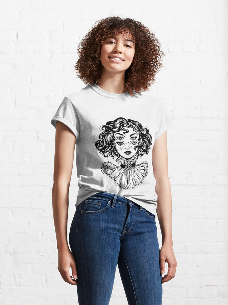 Alternate view of Gothic witch girl head portrait with curly hair and four eyes. Classic T-Shirt