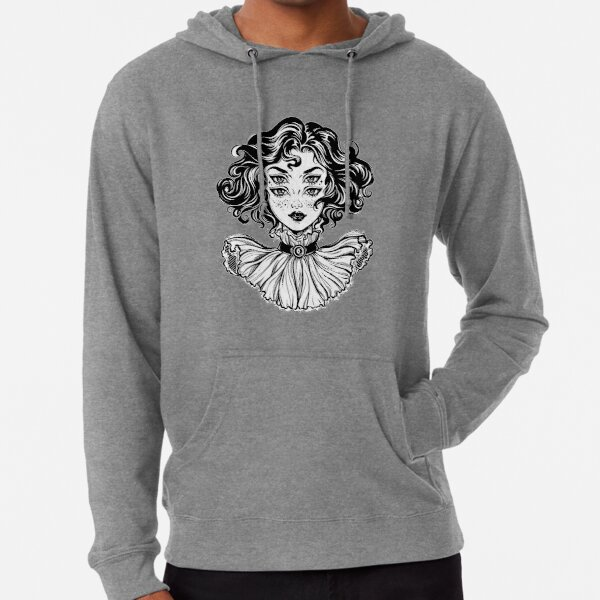 Gothic witch girl head portrait with curly hair and four eyes. Lightweight Hoodie