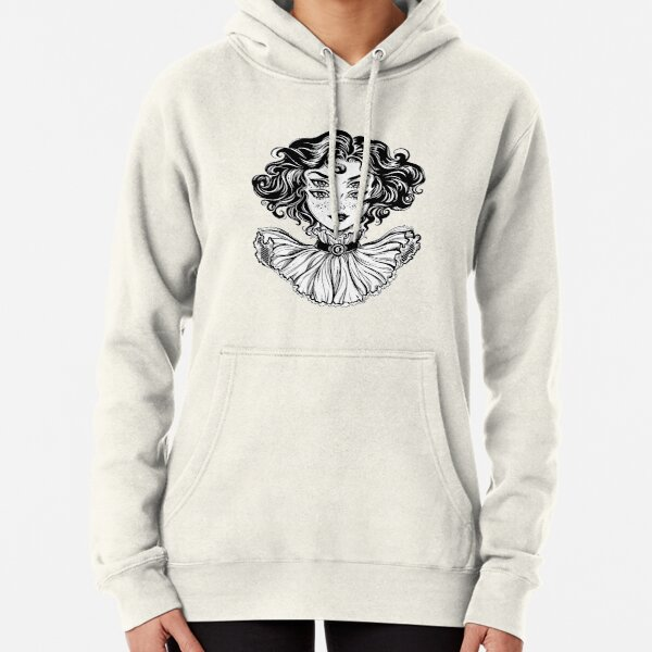 Gothic witch girl head portrait with curly hair and four eyes. Pullover Hoodie