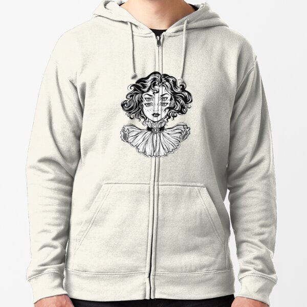 Gothic witch girl head portrait with curly hair and four eyes. Zipped Hoodie