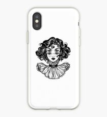 Gothic witch girl head portrait with curly hair and four eyes. iPhone Case