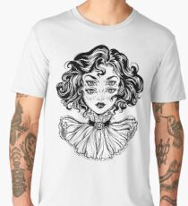 Gothic witch girl head portrait with curly hair and four eyes. Men's Premium T-Shirt