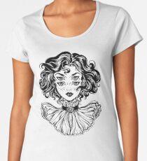 Gotisches Hexemädchen-Kopfporträt mit dem gelockten Haar und vier Augen. Premium Rundhals-Shirt
