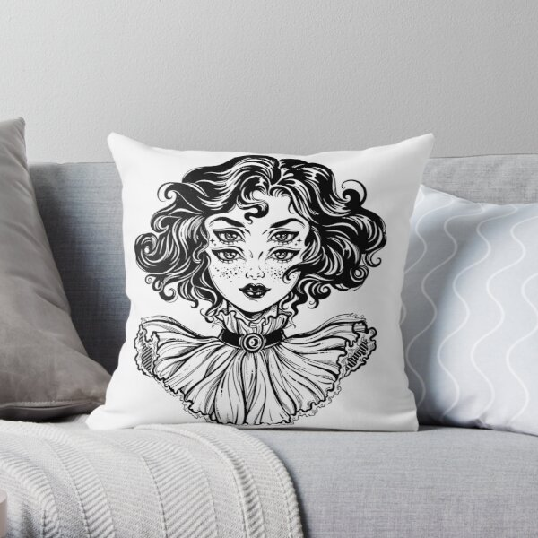 Gothic witch girl head portrait with curly hair and four eyes. Throw Pillow