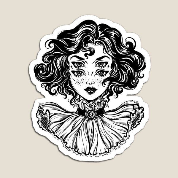 Gothic witch girl head portrait with curly hair and four eyes. Magnet