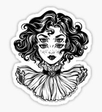 Gothic witch girl head portrait with curly hair and four eyes. Sticker