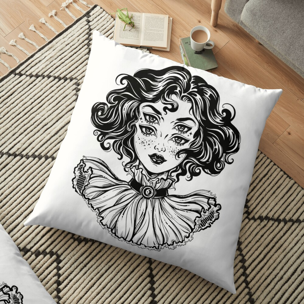 Gothic witch girl head portrait with curly hair and four eyes. Floor Pillow