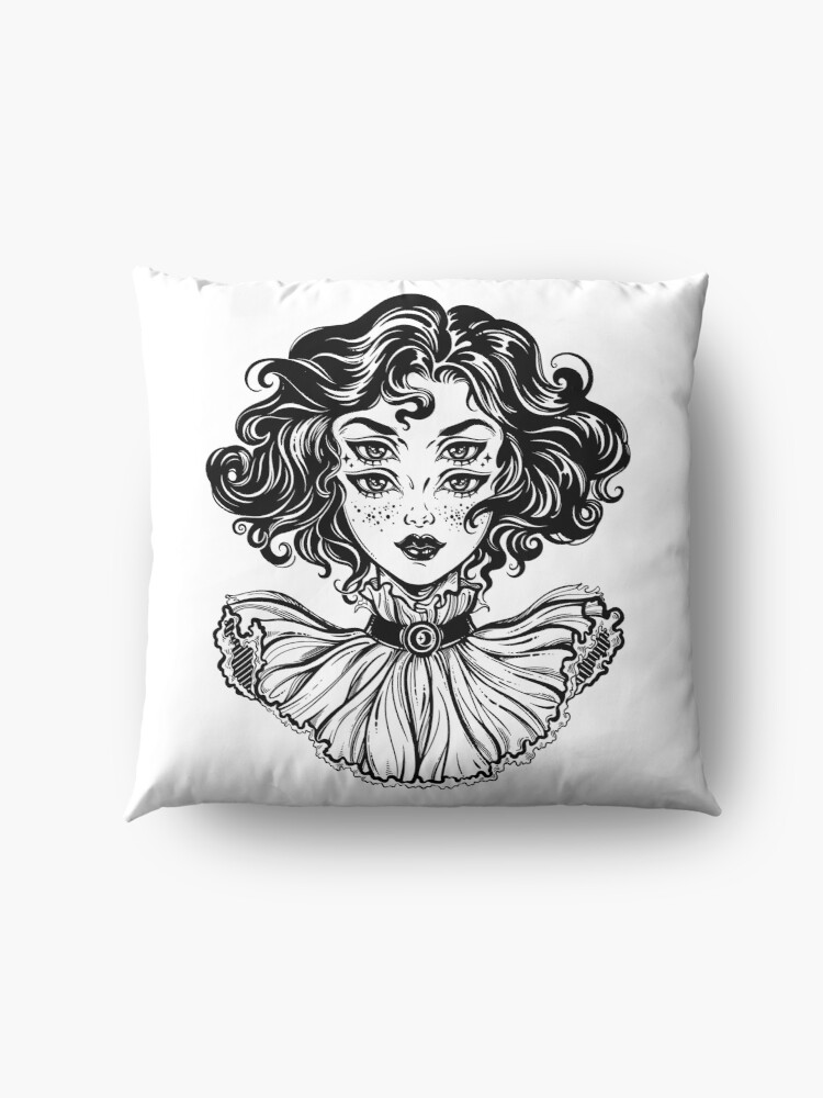 Alternate view of Gothic witch girl head portrait with curly hair and four eyes. Floor Pillow