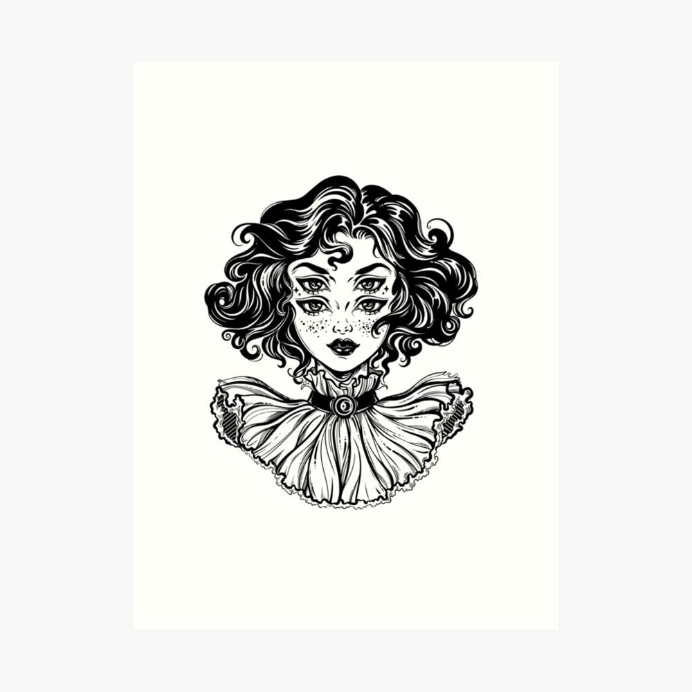 Gotisches Hexemädchen-Kopfporträt mit dem gelockten Haar und vier Augen. Kunstdruck