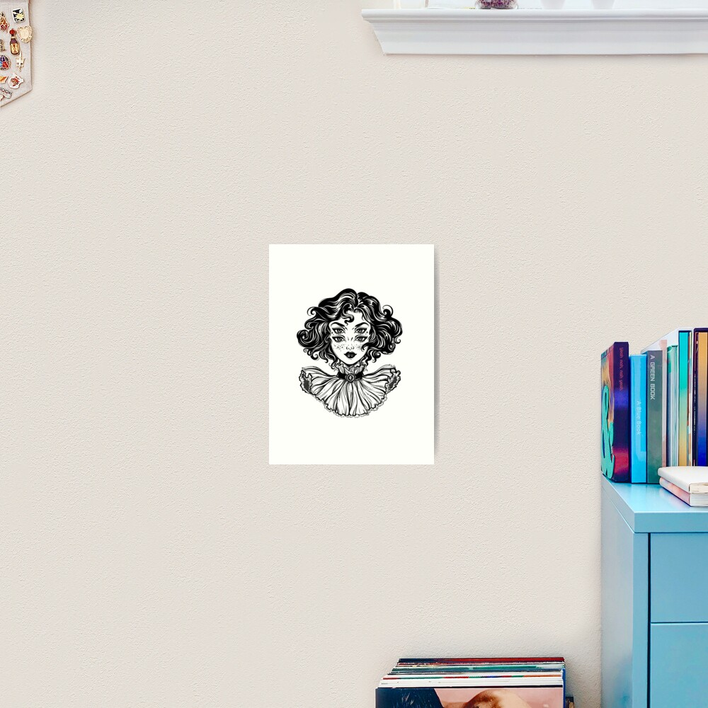 Gothic witch girl head portrait with curly hair and four eyes. Art Print