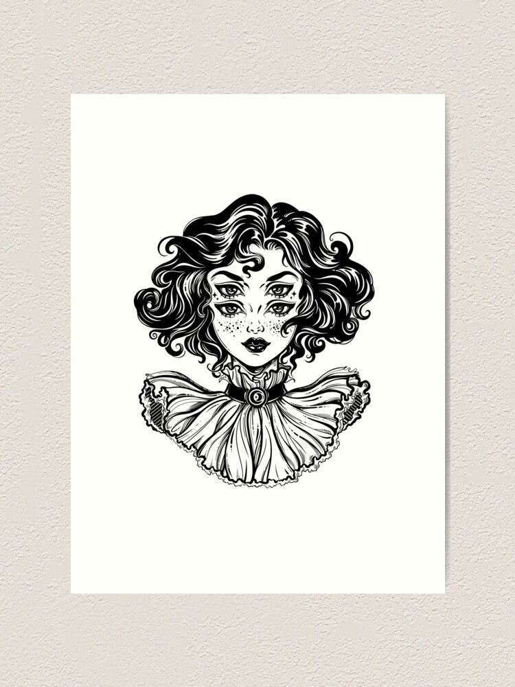 Alternate view of Gothic witch girl head portrait with curly hair and four eyes. Art Print