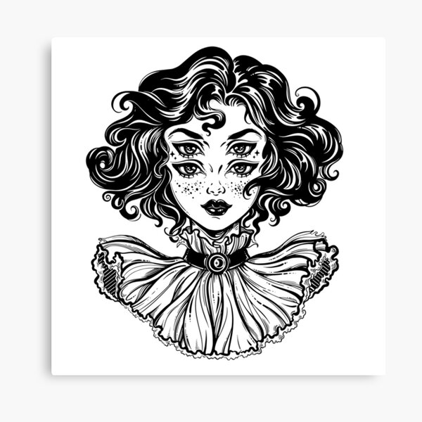 Gothic witch girl head portrait with curly hair and four eyes. Canvas Print