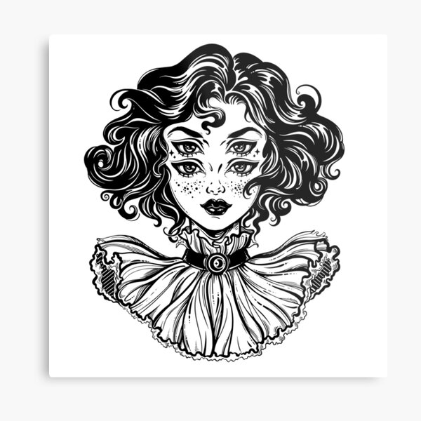 Gothic witch girl head portrait with curly hair and four eyes. Metal Print