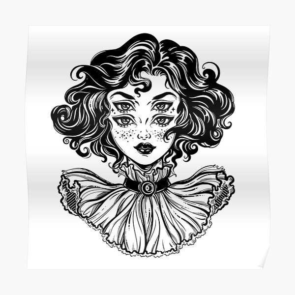 Gothic witch girl head portrait with curly hair and four eyes. Poster