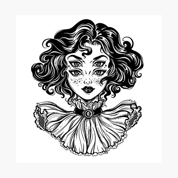Gothic witch girl head portrait with curly hair and four eyes. Photographic Print