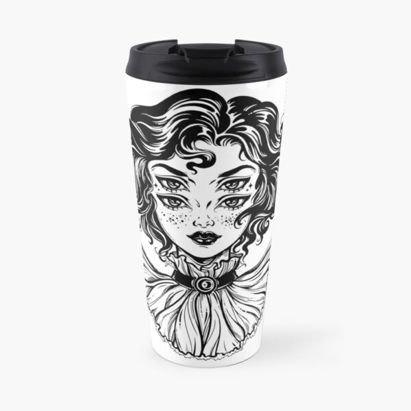 Gothic witch girl head portrait with curly hair and four eyes. Travel Mug