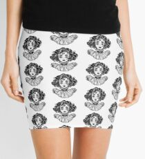 Gothic witch girl head portrait with curly hair and four eyes. Mini Skirt