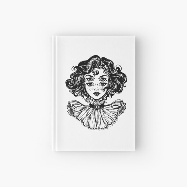 Gothic witch girl head portrait with curly hair and four eyes. Hardcover Journal