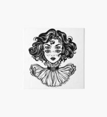 Gothic witch girl head portrait with curly hair and four eyes. Art Board