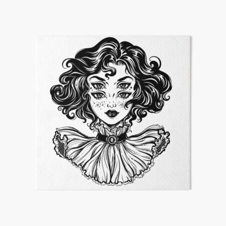 Gothic witch girl head portrait with curly hair and four eyes. Art Board Print
