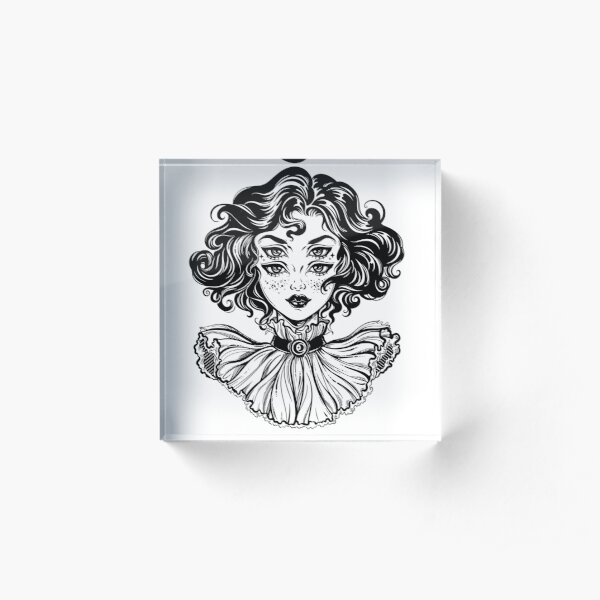 Gothic witch girl head portrait with curly hair and four eyes. Acrylic Block