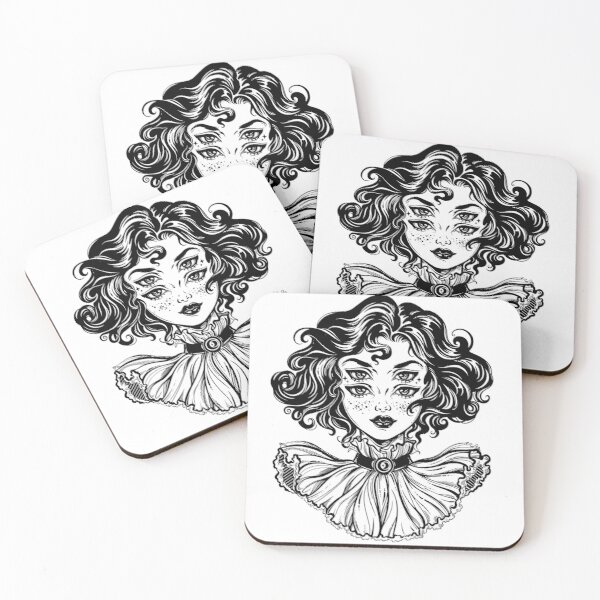 Gothic witch girl head portrait with curly hair and four eyes. Coasters (Set of 4)