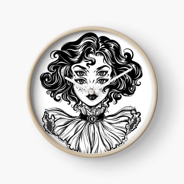 Gothic witch girl head portrait with curly hair and four eyes. Clock