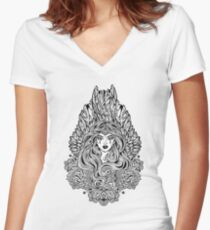 Angel magic woman with wings and long hair and ornate decoration Women's Fitted V-Neck T-Shirt