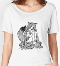 Beautiful Japanese demon fox Kitsune shapeshifter as girl witch with long hair and furry tail.  Women's Relaxed Fit T-Shirt