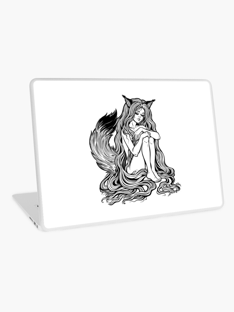 Beautiful Japanese Demon Fox Kitsune Shapeshifter As Girl Witch With Long Hair And Furry Tail Laptop Skin By Katjagerasimova Redbubble