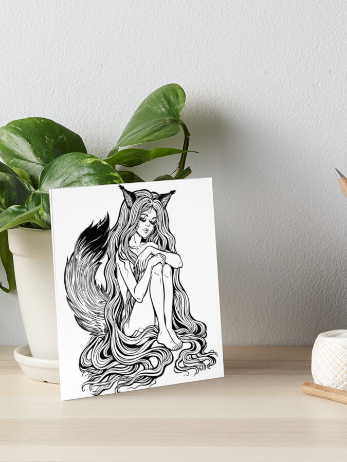 Beautiful Japanese demon fox Kitsune shapeshifter as girl witch with long  hair and furry tail  | Art Board Print