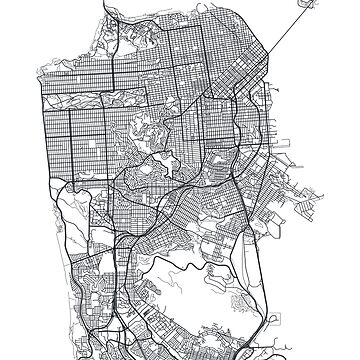 Vector poster map city San Francisco by maximgertsen