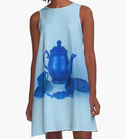 Blue Tea Party Wahnsinn Stillleben A-Linien Kleid