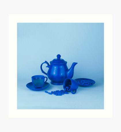 Blue Tea Party Wahnsinn Stillleben Kunstdruck
