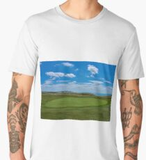 Golf course next to the sea,famous Seven Sisters white cliffs in the background. Men's Premium T-Shirt