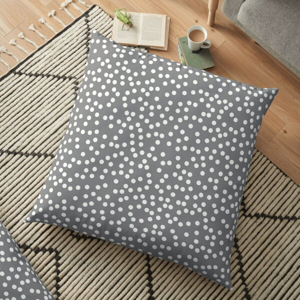 Simple Gray and White Polka Dots Floor Pillow