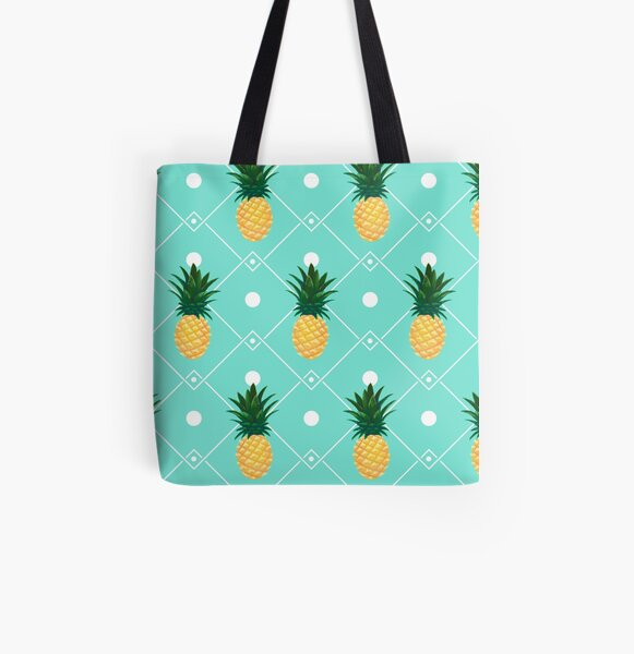 Pineapples All Over Print Tote Bag