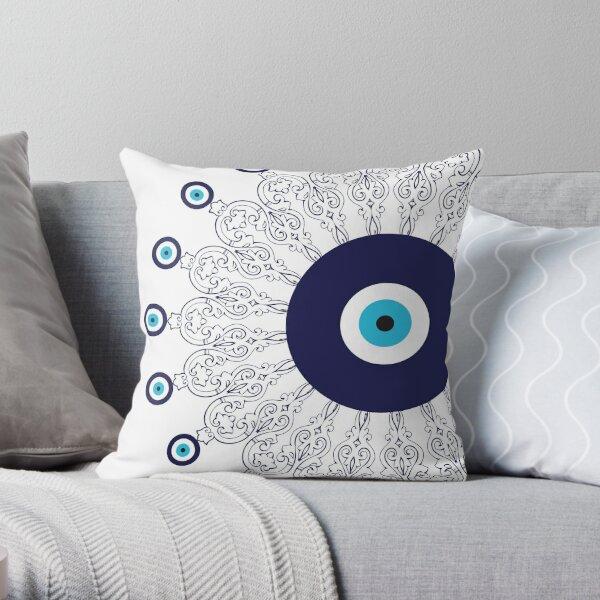 Navy Blue White Mediterranean Evil Eye Mandala Pattern Throw Pillow