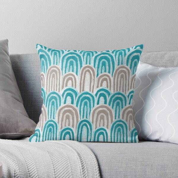 Water Rays (Aqua and Gray) Throw Pillow
