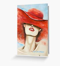 Woman in the hat Red hat Watercolor painting Original card Decor for home Home decor Greeting Card