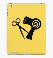 Hairdryer and scissors hairstylist iPad Case/Skin