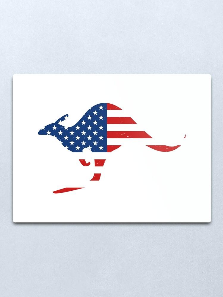 Alternate view of Kangaroo American Flag Metal Print