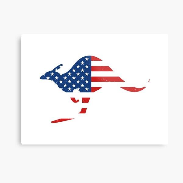 Kangaroo American Flag Metal Print