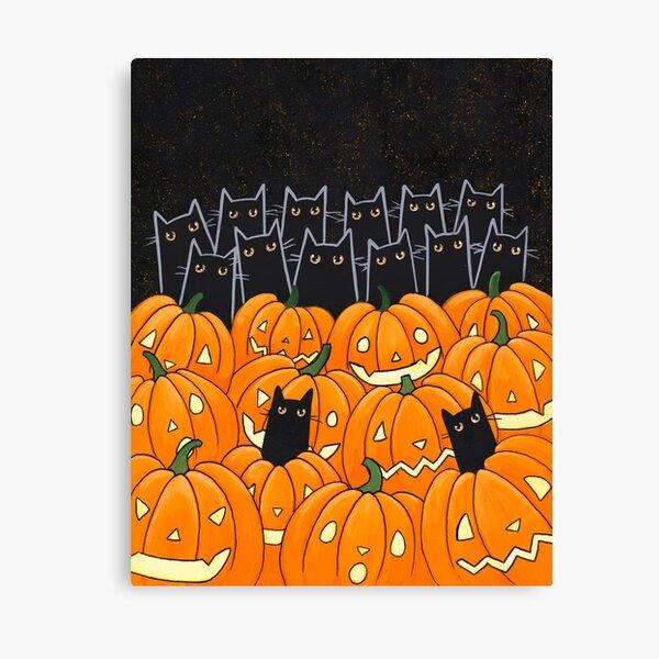 Black Cats & Jack-o-Lanterns Canvas Print