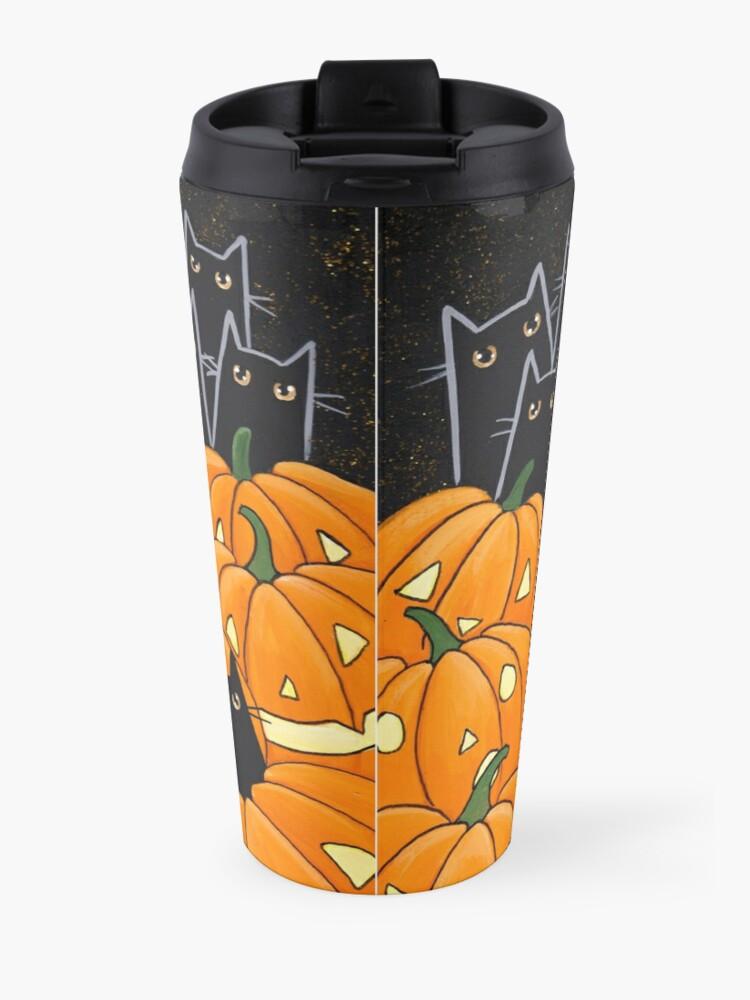 Alternate view of Black Cats & Jack-o-Lanterns Travel Mug