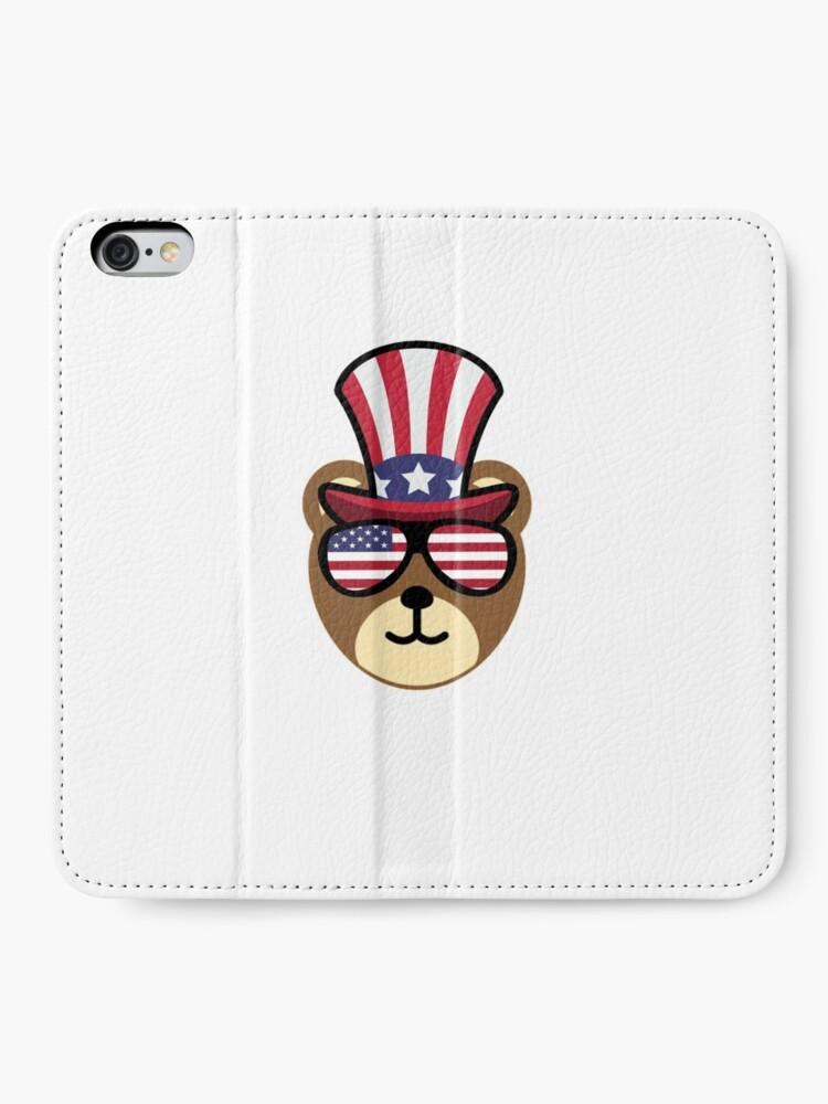 Vista alternativa de Fundas tarjetero para iPhone Bear Happy 4th Of July