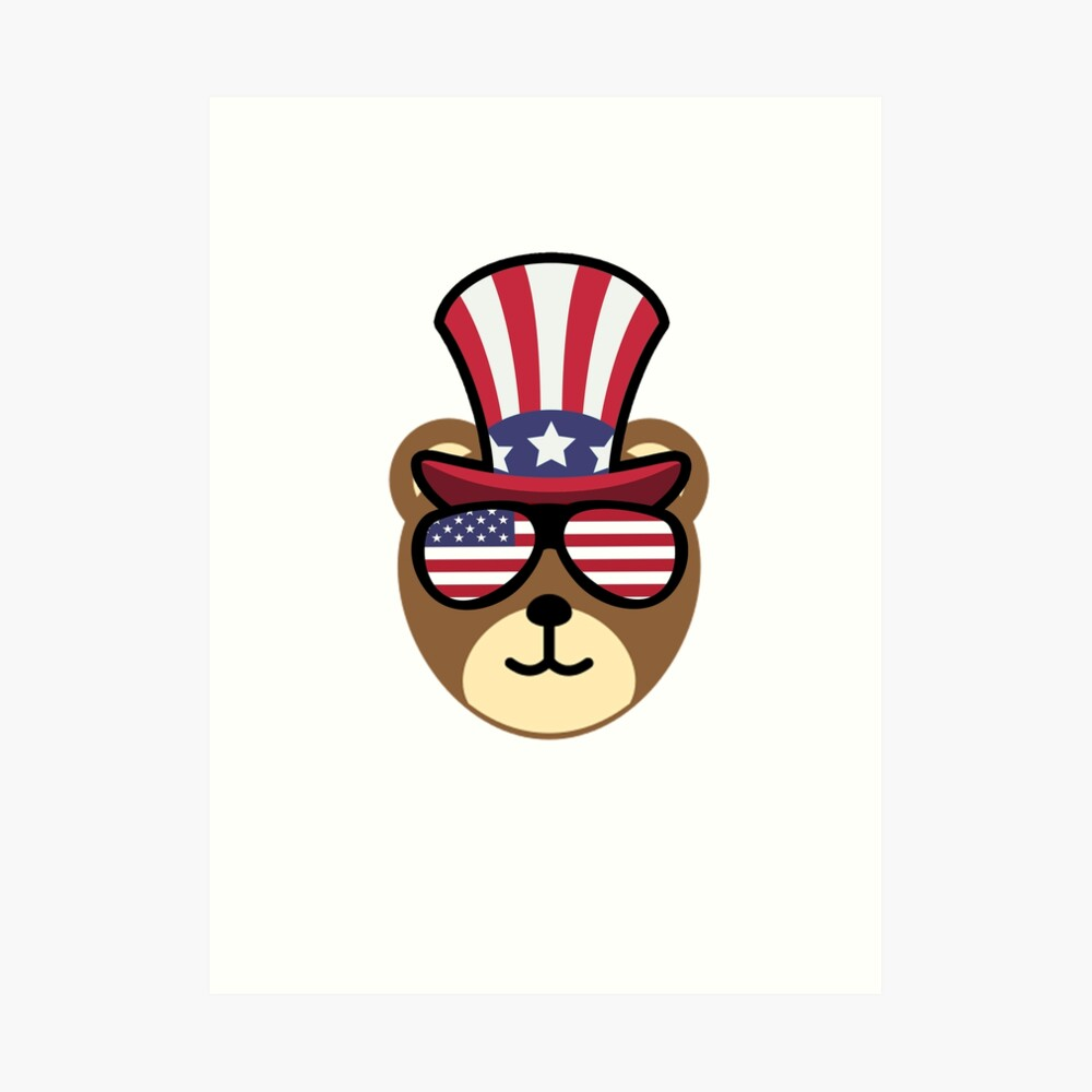 Bear Happy 4th Of July Lámina artística