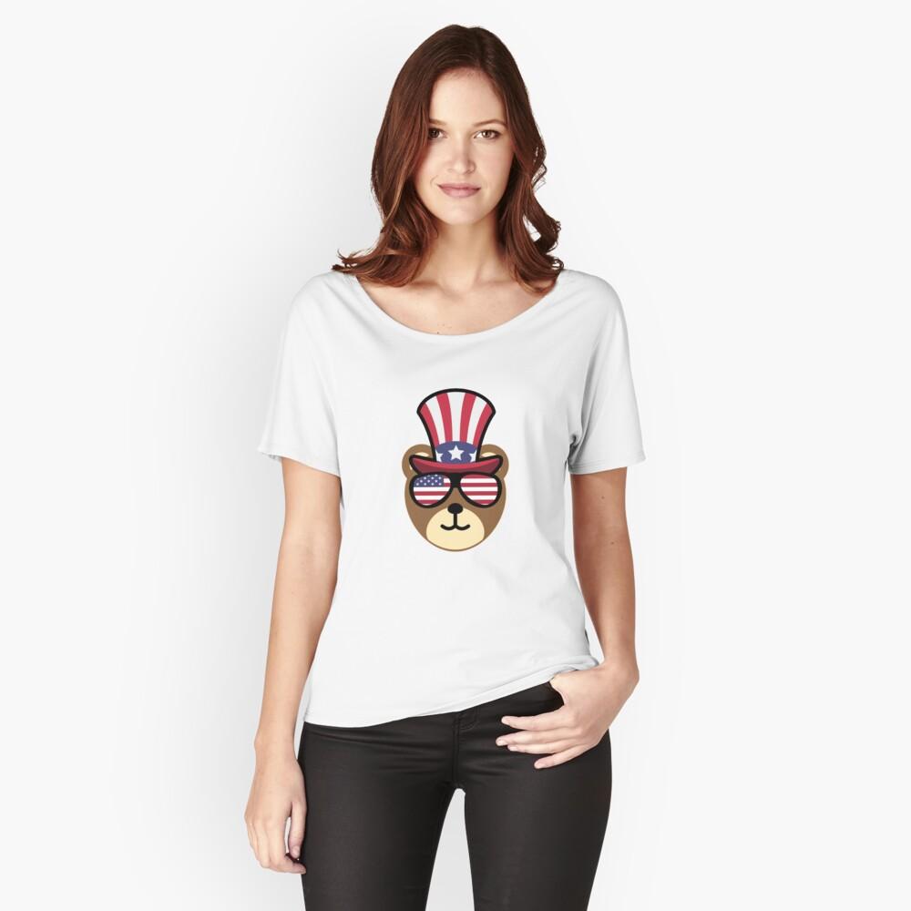 Bear Happy 4th Of July Camiseta ancha