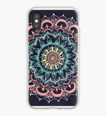 Pink, Cream & Soft Turquoise Glow Medallion on Navy iPhone Case